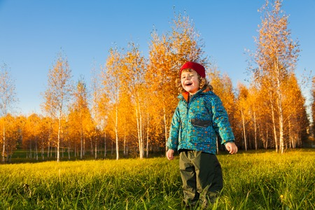 Happy laughing three years old little boy standing on the lawn in the autumn park photo
