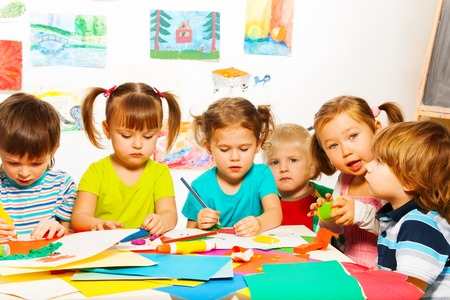 Happy boys and girls on creative lesson class Stock Photo