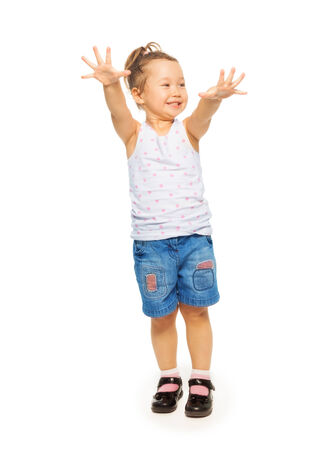 full height: Full height portrait of Asian 4 years old girl standing isolated on white