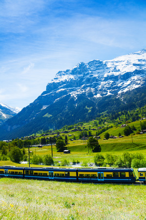 Stripped blue yellow train crossing green Alps countryside with mountain background in summer