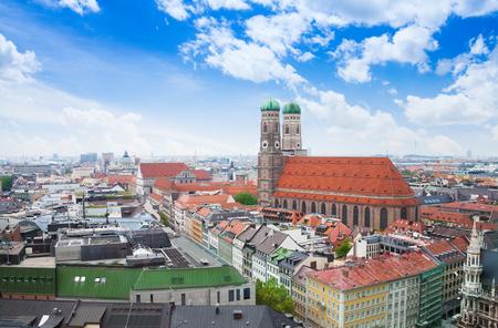 City view with sky, Frauenkirche, red roofs in Munich near Marienplatz, Bavaria, Germany photo