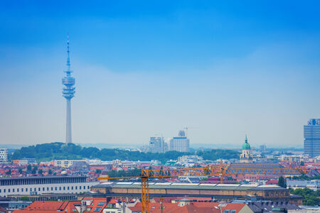 panoramic city view of Munich, Bavaria, Germany with the Olympic Tower and skyline