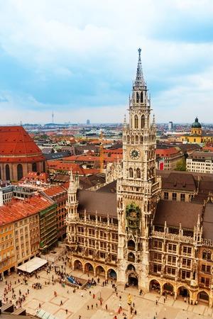 City centre of Munich, Marienplatz, New Town Hall (Neues Rathaus), Glockenspiel, Bavaria, Germany photo
