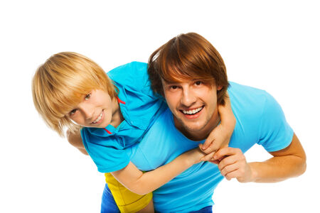 blond boy: Happy smiling father with little blond boy son