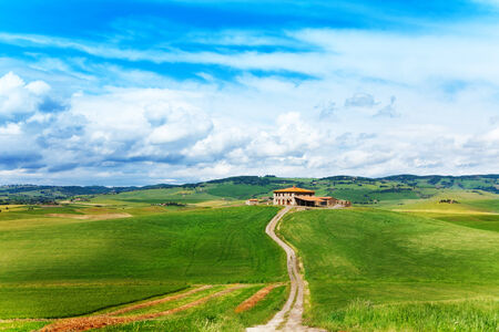 footway: Tuscany landscape with house and footpath in  Italy Stock Photo