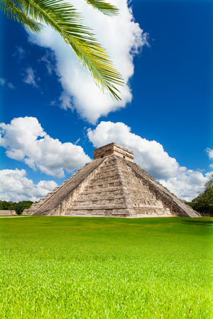 Nice view of Chichen, Itza monument, Mexico on green grass photo