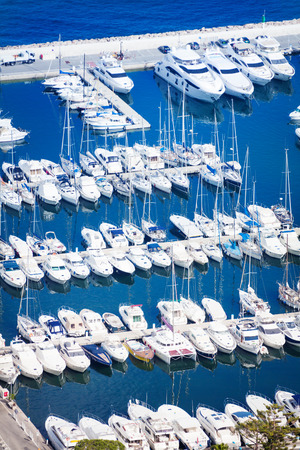 Wonderful view from top of marina in Monaco on Mediterranean sea Stock Photo
