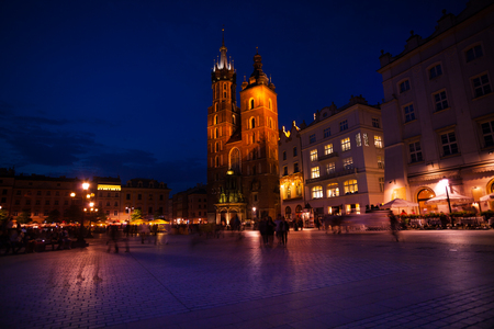 View of Saint Marys Basilica and Rynek Glowny (main square) Krakow, Poland photo