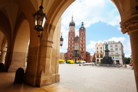 Saint Marys Basilica and Rynek Glowny (main square) Krakow, Poland photo