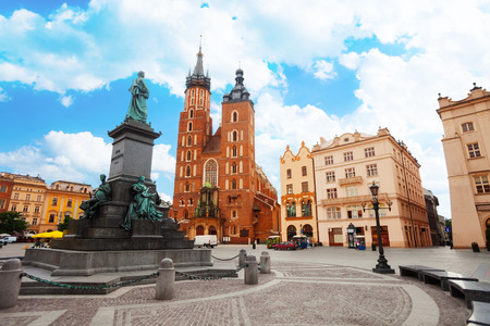 Saint Marys Basilica and Rynek Glowny (main square) Krakow, Poland