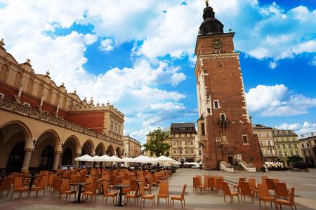 Town Hall Tower (Wieza ratuszowa w Krakowie) and Cloth Hall on  Rynek Glowny (main square) in Krakow, Poland photo