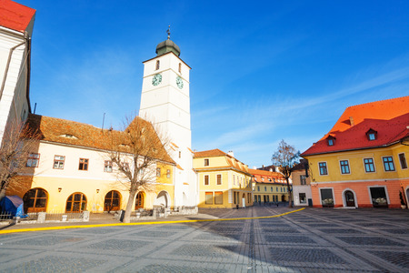 Council Tower and Piata Mare (Large square) in sunshine in Sibiu, Romania after Christmas photo