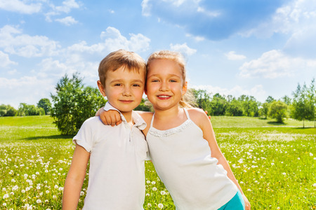 Wonderful kids standing together Stock Photo