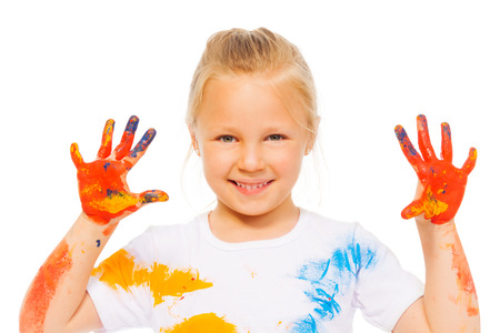 child finger: Blonde little girl shows painted palms