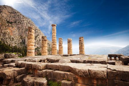 templo griego: La visi�n pintoresca en el templo de Apolo Foto de archivo