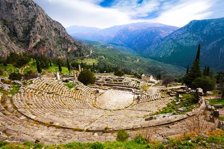 teatro antiguo: La vista en el anfiteatro, Delphi