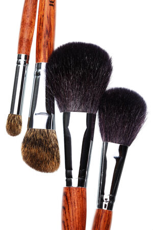 makeup brush: Four makeup brushes on white background