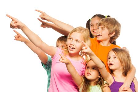 child finger: Six funny kids point fingers aside