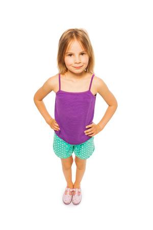 Little pretty girl in purple shirt photo