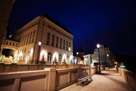 judiciary: Night view of Judiciary City, Plateau St  Espirit Stock Photo