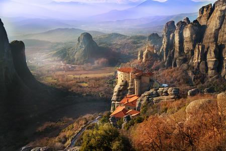 The Holy Rousanou Monastery among cliffs