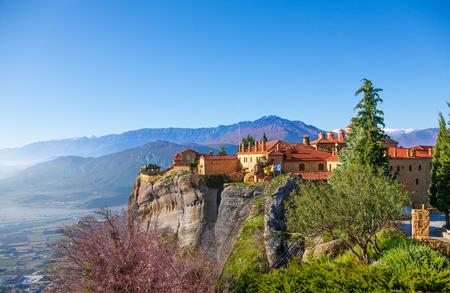monastery nature: Vivid picture of Holy Varlaam Monastery Stock Photo