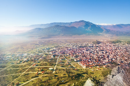 kalabaka: The Kalabaka town, view from monastery Stock Photo