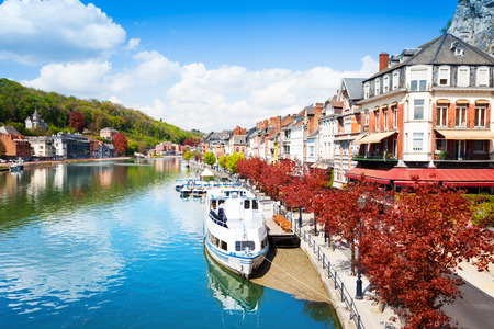 meuse: Beautiful view of Dinant cityscape on Meuse river