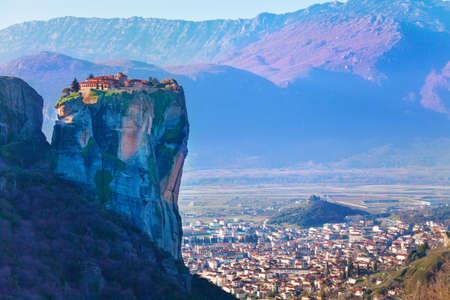 kalabaka: Holy Trinity Monastery on top of the cliff Stock Photo