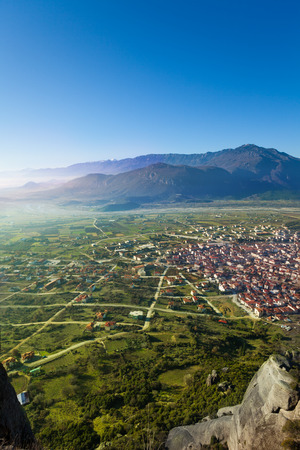 kalabaka: The Kalabaka town in Meteora mountains, Greece