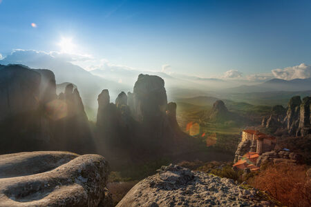 monastery nature: Landscape of Meteora mountains and monastery Stock Photo
