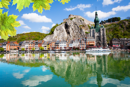 meuse: Meuse river with Collegiale Notre Dame, Belgium