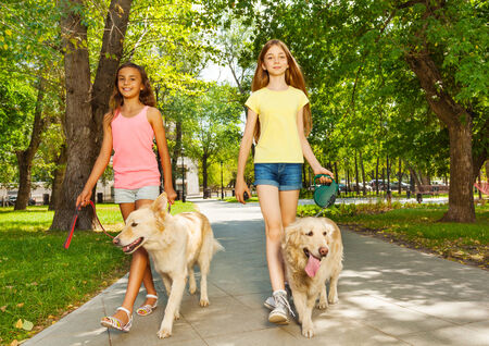 Two teenage girls walking with dogs in park photo