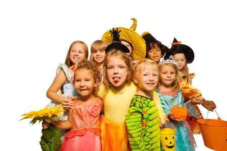 Funny kids in Halloween costumes photo