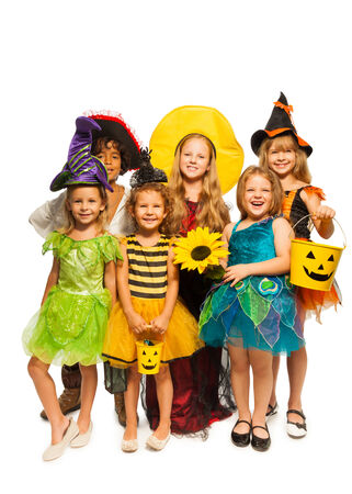 stage costume: Group of kids in Halloween costumes