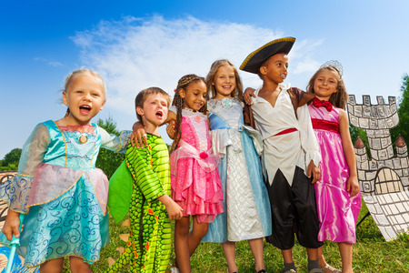 colorful dress: Children diversity in festival costumes standing