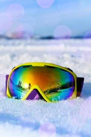 ski mask: View of ski mask on white snow with snowflakes Stock Photo