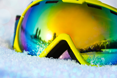 ski mask: Close up view of ski mask on snow with snowflakes Stock Photo