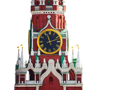 spassky: Isolated Kremlin clock view on white background Stock Photo