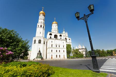 bell tower: Ivan Grozny Bell Tower, Tsar Kolokol across road Stock Photo
