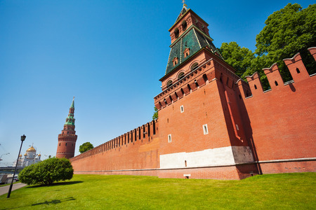 Kremlin red bricks wall view with green trees photo
