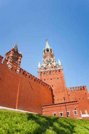 spassky: Spasskaya tower view from below with Kremlin wall