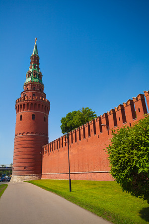 Kremlin wall view with tower in summer, Moscow, Russia photo