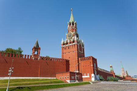 spassky: Spasskaya tower view during day with Kremlin wall in summer in Moscow, Russia
