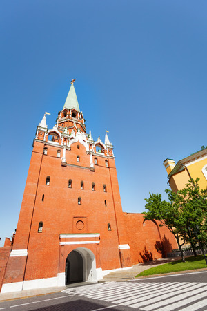 Borovitskaya tower view from below during day in the Moscow Kremlin photo