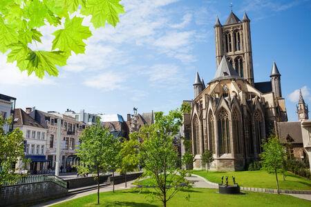 st nicholas: Summer view of St Nicholas Church in Ghent