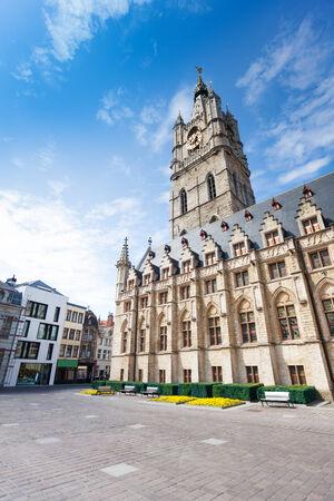 flemish region: View of square with Het Belfort van Gent in beautiful Ghent in Flemish region, Belgium