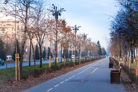 main street: The view of Bulevardul Unirii, Bucharest, Romania Stock Photo