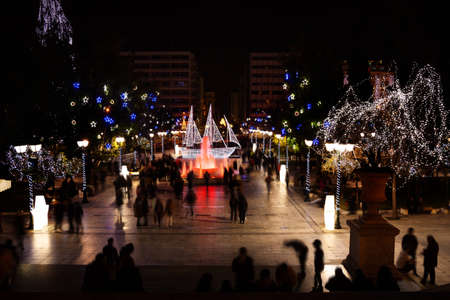 syntagma: Syntagma Square during Christmas night in Athens Stock Photo