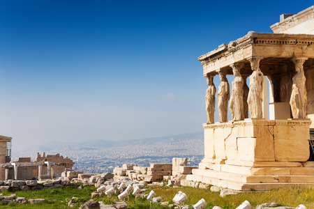 Beautiful view of Erechtheion in Athens, Greece Stock fotó